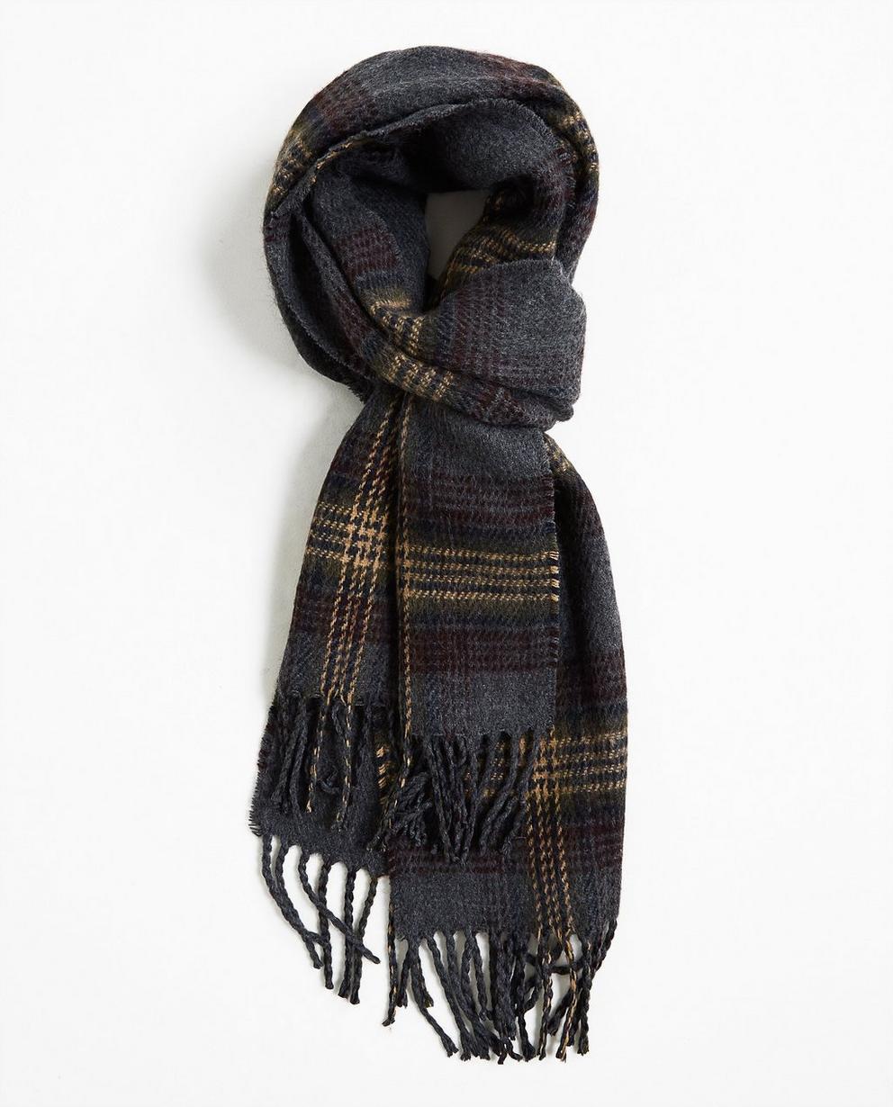 Donkergrijze warme sjaal - met strepen in beige en bruin - Tim Moore